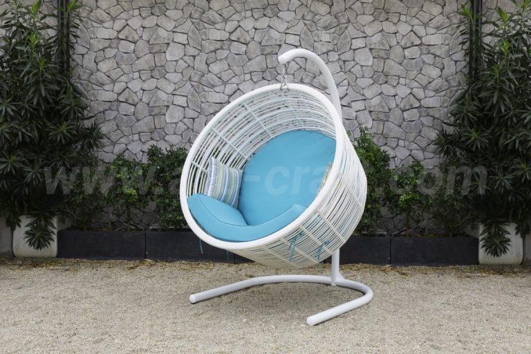 ghế xích đu giỏ tre trắng nệm xanh RAHM-011 ATC Furniture
