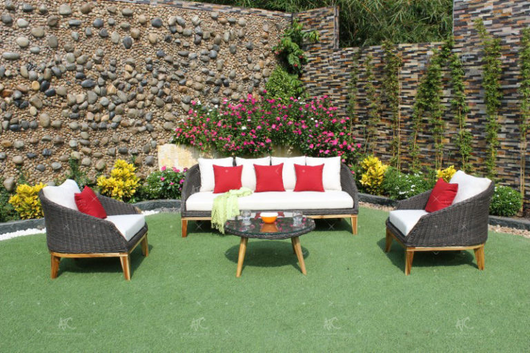 Poly rattan all weather sofa set RASF-091