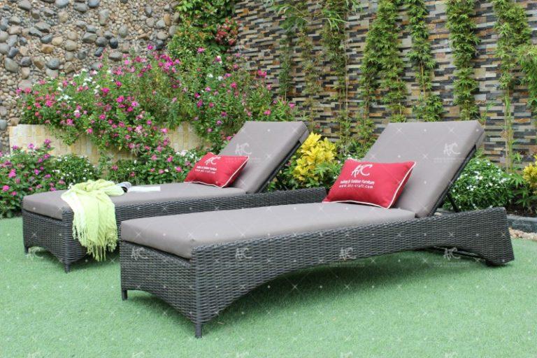 poly rattan outdoor sunbed sun lounger RABD 074
