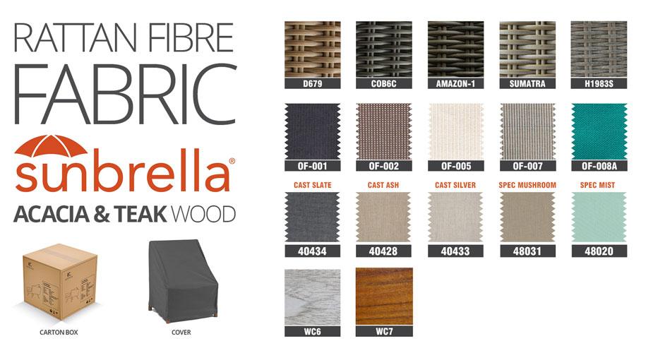 rattan fibre wooden patio furniture