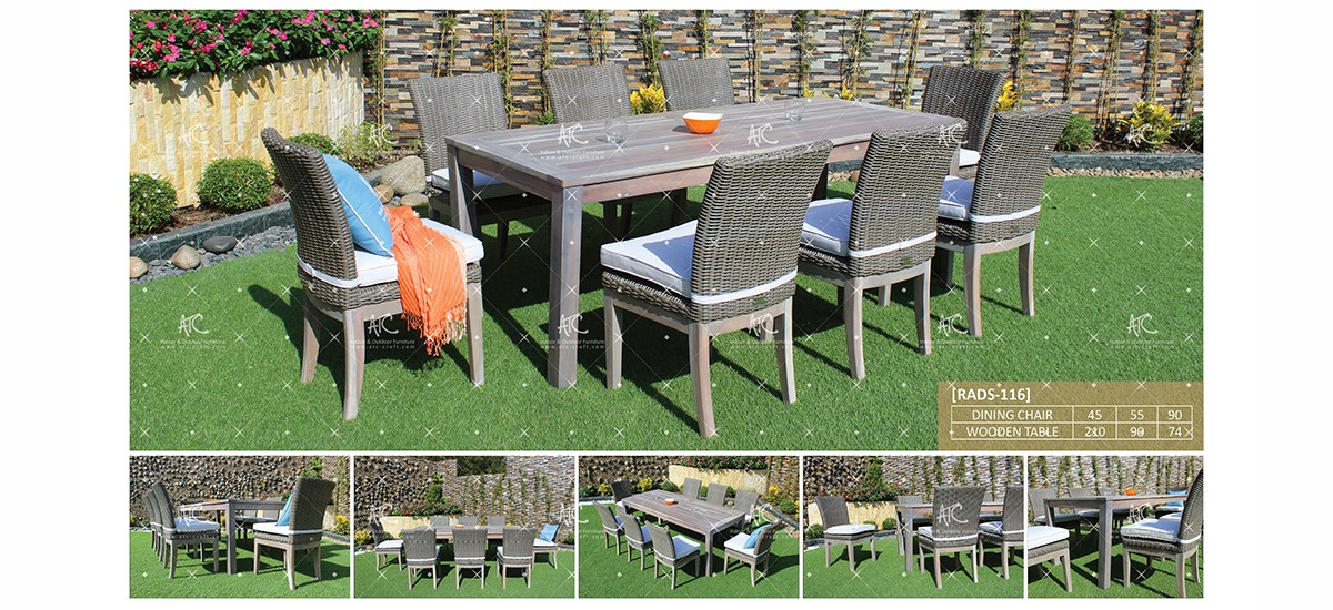 canary wooden outdoor furniture rattan dining set