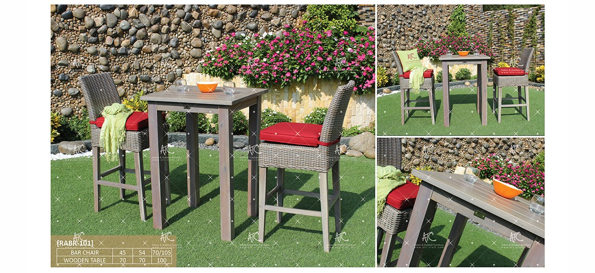 canary poly rattan wooden furniture patio dining set