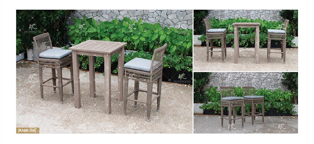 devon garden wicker furniture rattan chair and wooden table