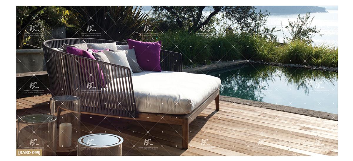 flores garden furniture teak outdoor sun lounger chair