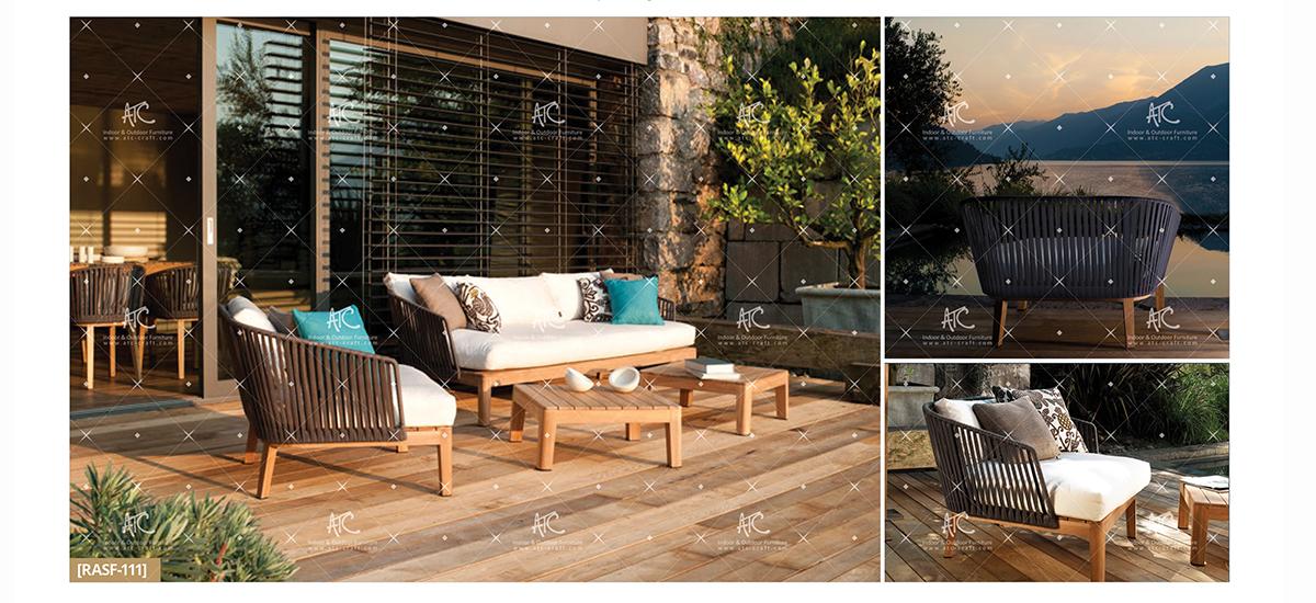 flores wooden garden furniture teak patio sofa set