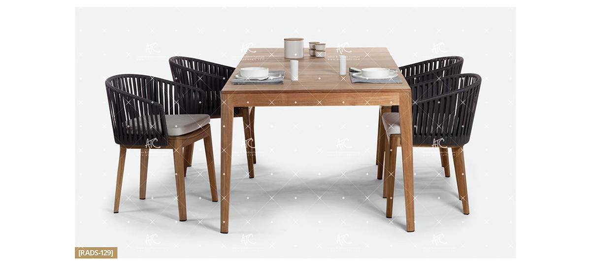 flores wooden patio furniture teak garden dining set
