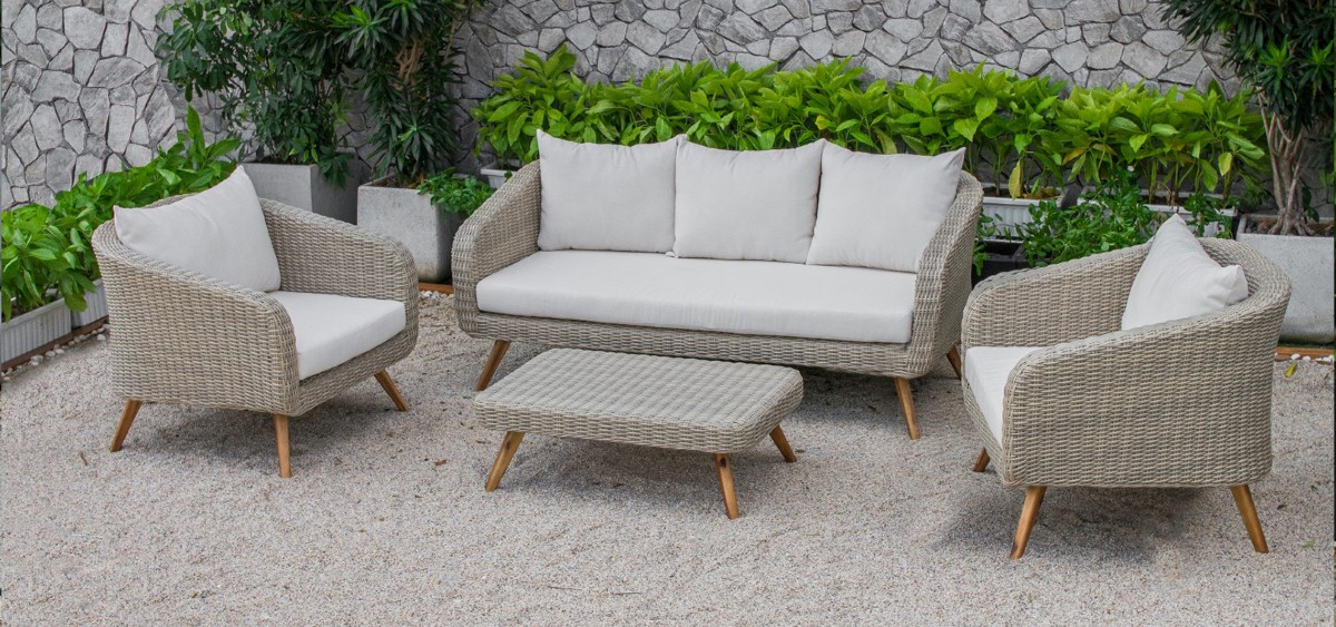 canary pe rattan garden furniture wicker sofa set