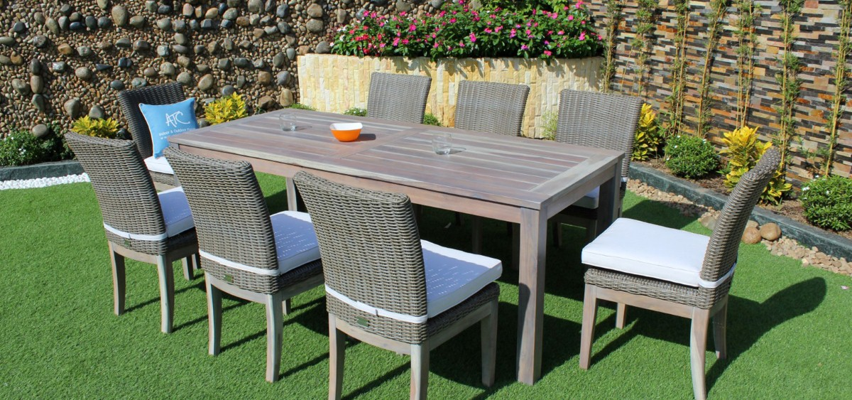 canary wicker garden furniture wooden dining set