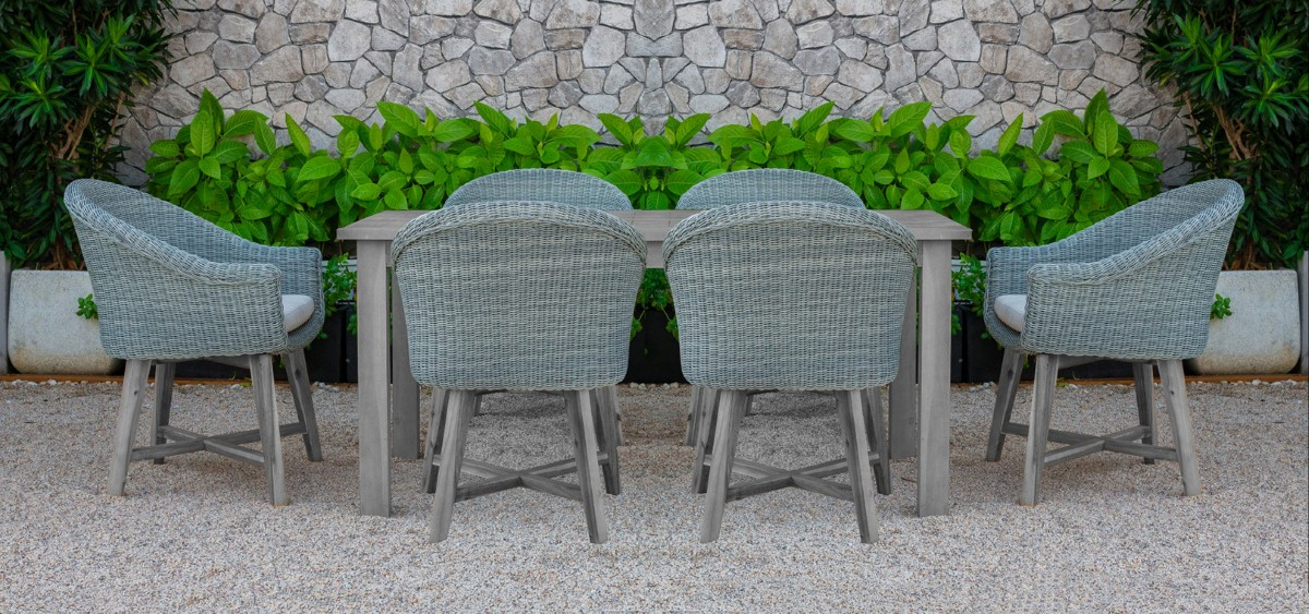 canary wicker outdoor furniture wooden dining set