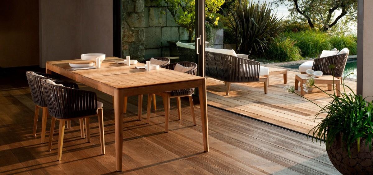 flores patio furniture teak outdoor dining set and sofa set