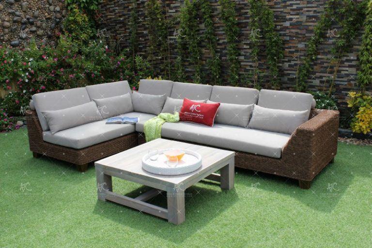 Bộ Sofa Góc Mây Nhựa Chữ L Bàn Gỗ Vuông RASF-151