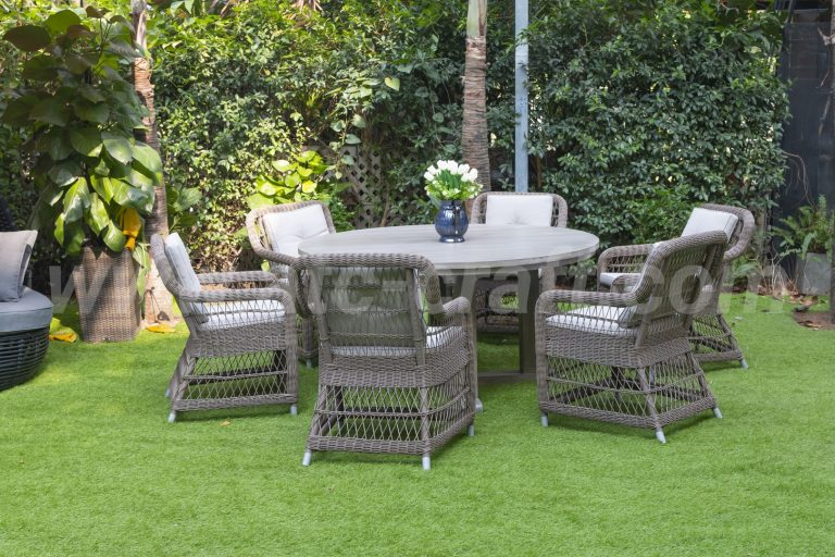 Bộ bàn ghế ăn mây nhựa bàn gỗ tròn đan thưa RADS-147A