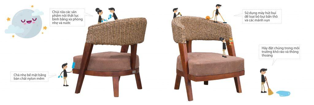 Cách sử dụng và bảo dưỡng bàn ghế nội thất lục bình