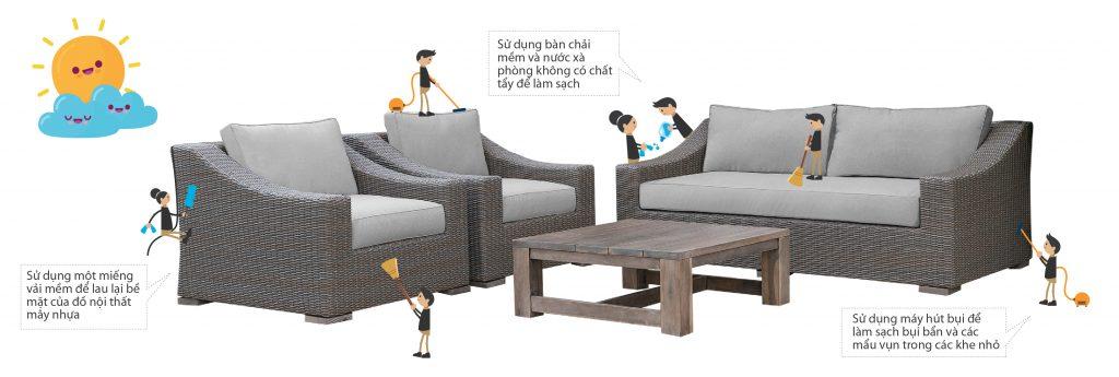 Quy cách sử dụng và bảo dưỡng bàn ghế nội thất ngoài trời