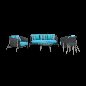 Bộ sofa mây nhựa cho ban công màu đen