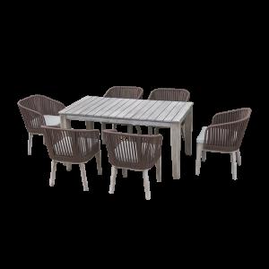 Bộ bàn ghế ăn ngoài trời gỗ acacia