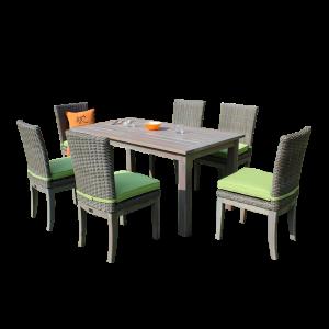 Bộ bàn ghế ăn ngoài trời mây nhựa với bàn gỗ