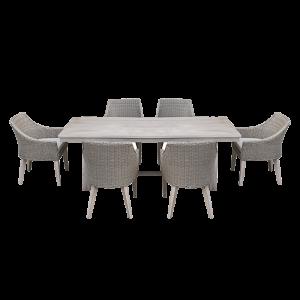 Bộ bàn ghế ăn mây nhựa ngoài trời với bàn gỗ
