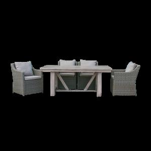 Bộ bàn ghế ăn ngoài trời mây nhựa bàn gỗ