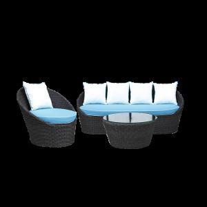 Sofa ngoài trời mây tre đan với đệm ngồi thoải mái
