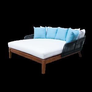 Giường tắm nắng mây nhựa chân gỗ