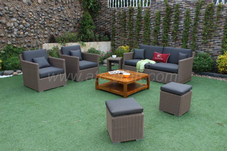 Bộ sofa ngoài trời nhựa giả mây bàn gỗ vuông cao cấp RASF-001