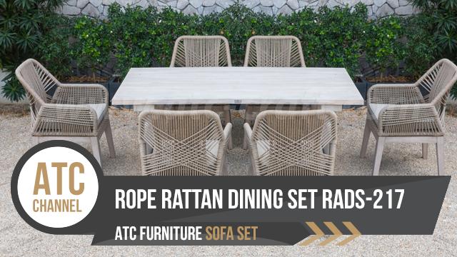 Bộ bàn ghế phòng ăn dây đan ngoài trời RADS-217