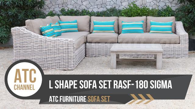 Bộ sofa góc chữ L nhựa giả mây ngoài trời RASF-180 SIGMA 2018 từ ATC Furniture