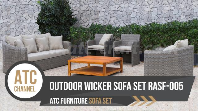 Bộ sofa mây nhựa ngoài trời với bàn gỗ RASF 005 2018