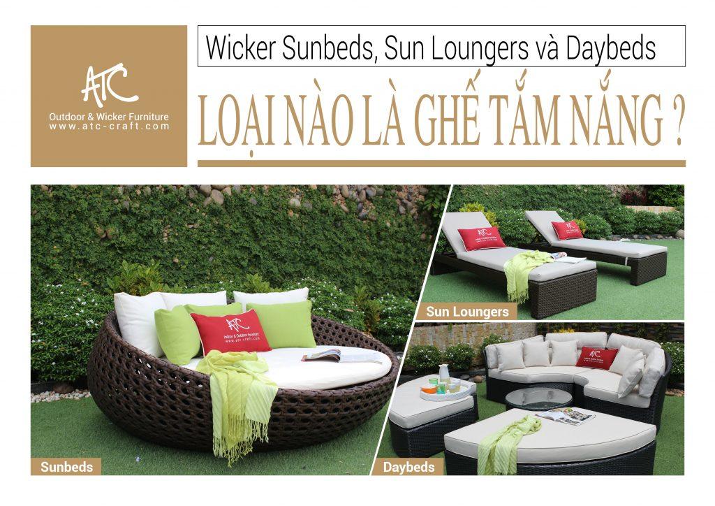 Phân biệt ghế tắm nắng Sunbeds, ghế dài thư giãn Sun Loungers hay sofa giường Daybeds