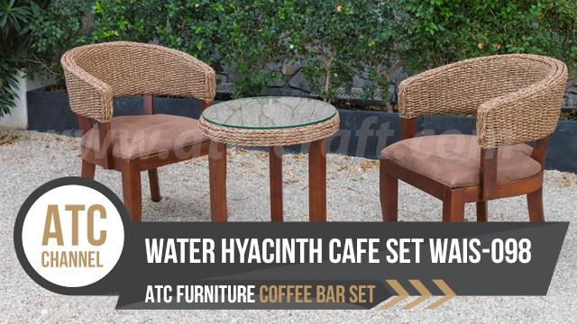 Bộ bàn ghế quán café dây đan lục bình trên khung gỗ WAIS-098