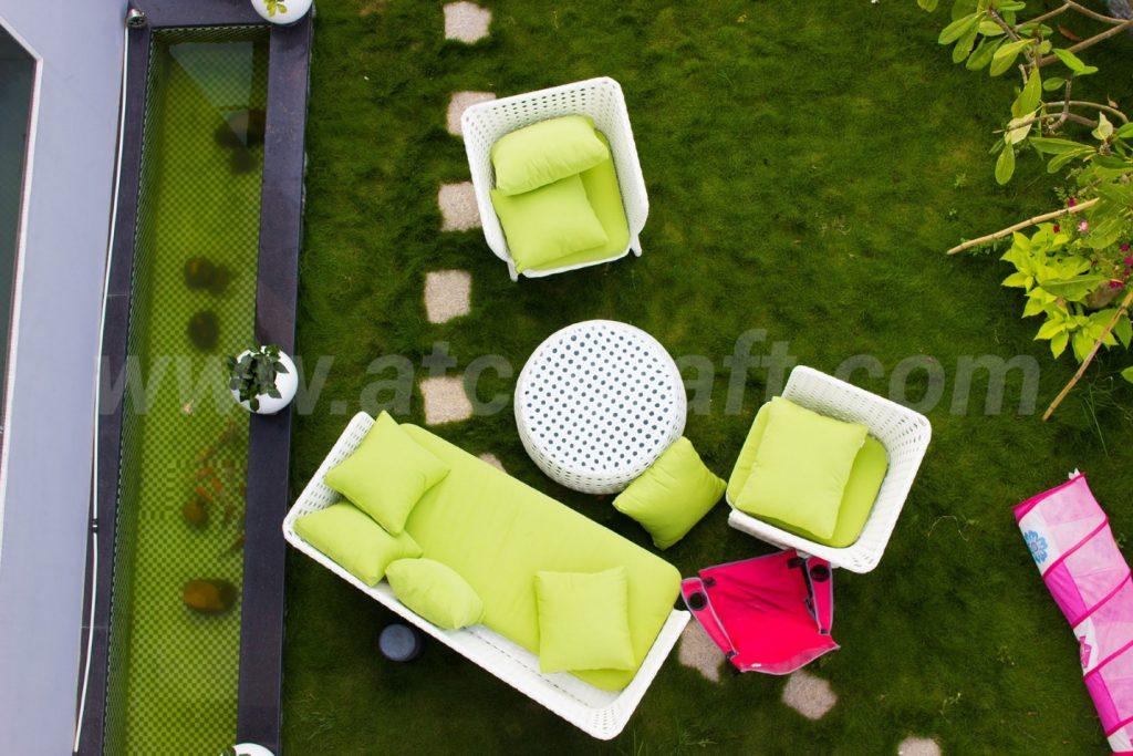 Bộ sofa mây nhựa ngoài trời cao cấp dành cho khu vực phòng khách sân vườn từ ATC Furniture