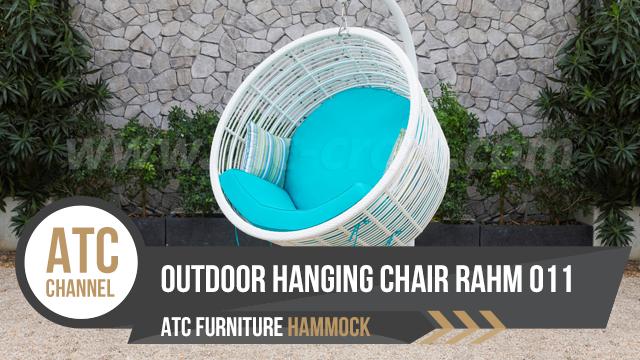 Bộ ghế xích đu mây nhựa màu trắng RAHM-011 từ nhà sản xuất nội thất mây nhựa ATC Furniture