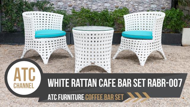 Bộ bàn ghế cafe mây nhựa ngoải trời màu trắng RABR-007