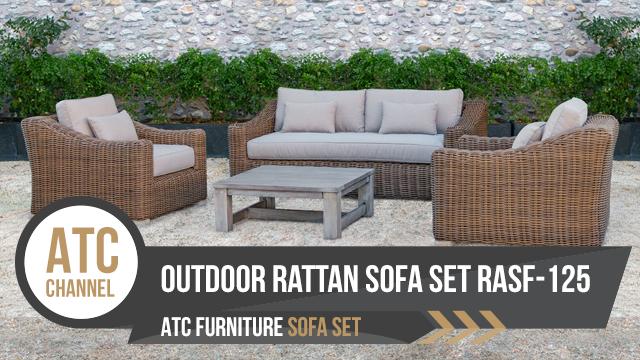 Bộ sofa mây nhựa ngoài trời dây tròn RASF-125 | ATC Furniture | Phòng khách ngoài trời