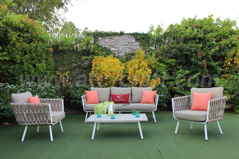 Bộ bàn ghế sofa dây thừng đan độc đáo cho sân vườn RASF-190