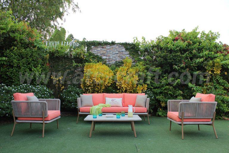 Bộ bàn ghế sofa ba màu dây thừng đan ấn tượng RASF-195