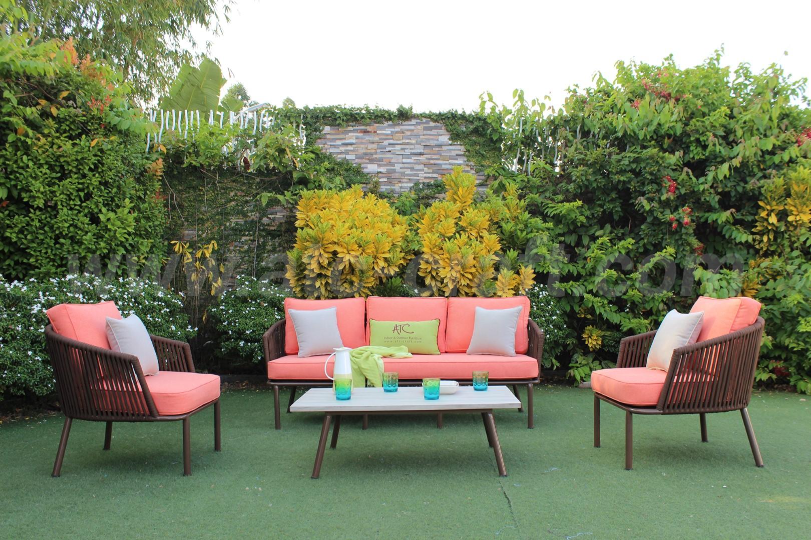 Bộ ghế sofa dây thừng sân vườn thanh lịch RASF-192