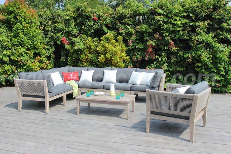 Bộ bàn ghế sofa dây dù ngoài trời chữ L RASF-160