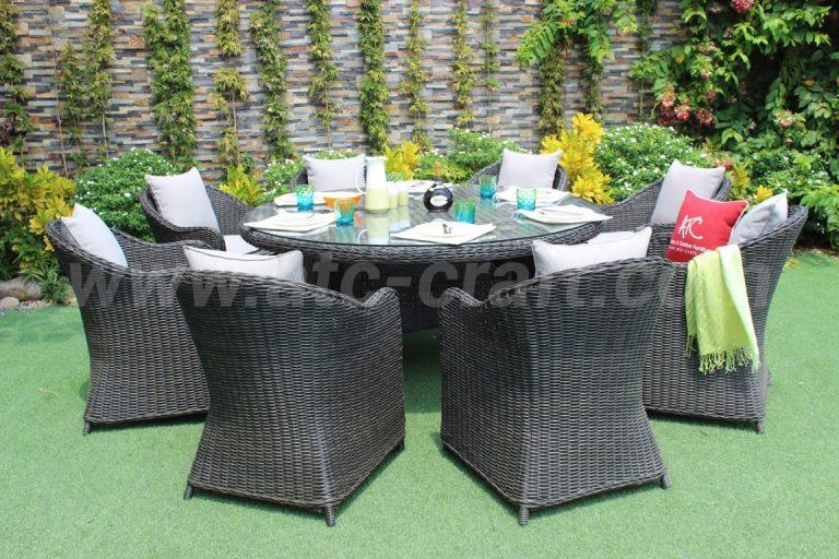 Bộ bàn ghế ăn tròn 8 ghế ngoài trời RADS-026-1